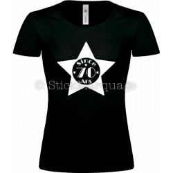 """T-shirt Star Noir Femme 70ème Anniversaire """"Since 70 Ans"""""""