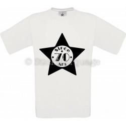 Tee-shirt Star Blanc Homme 70ème Anniversaire - Since 70 Ans