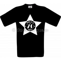 T-shirt Star noir Homme 70ème Anniversaire - Since 70 Ans