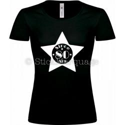 """T-shirt Star Noir Femme 80ème Anniversaire """"Since 80 Ans"""""""
