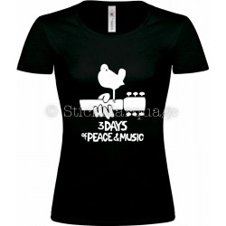 T-shirt noir femme Woodstock 3 Days of Peace & Music