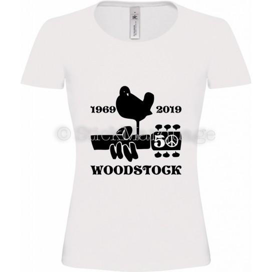 T-shirt Blanc femme Woodstock 50ème Anniversaire
