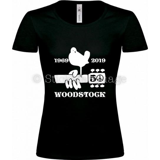 T-shirt noir femme Woodstock 50ème Anniversaire