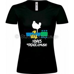 T-shirt noir femme Woodstock 3 Days of Peace & Music