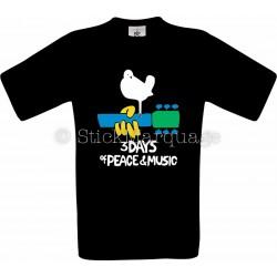 Woodstock 1969 Vintage Homme Festival Musique Tshirt noir