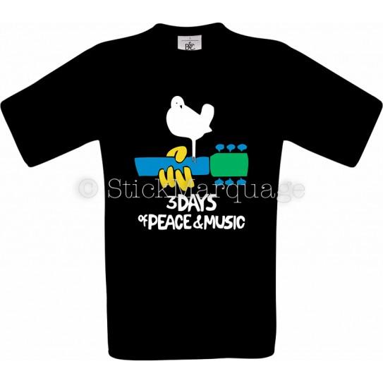 Tee-shirt noir homme Woodstock 50 Ans 1969