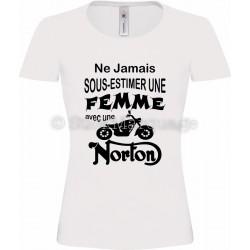 T-shirt blanc femme moto Norton
