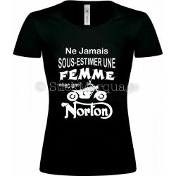 T-shirt noir femme moto Norton