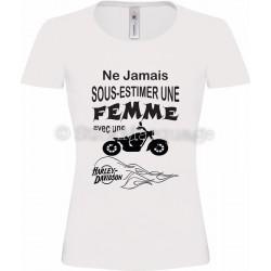 T-shirt blanc femme moto Harley-Davidson