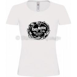 T-shirt Ford Motor Co. Detroit blanc femme
