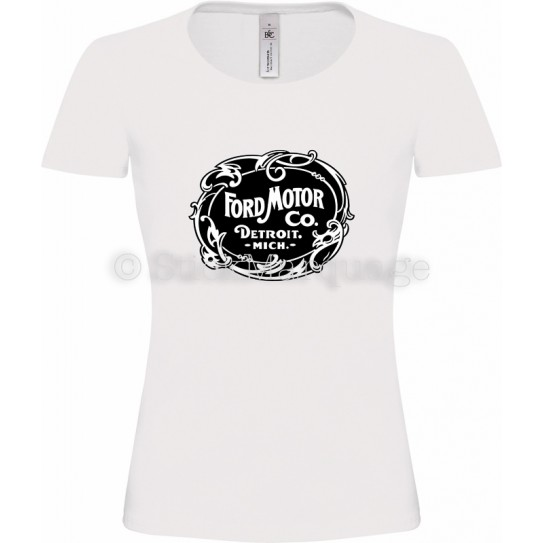 T-shirt Ford Motor Co. Detroit blanc femme