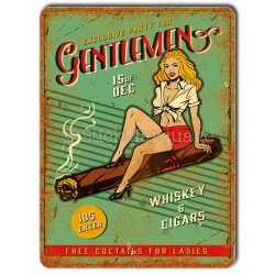 Plaque metal Pin-Up Gentleman Whisky