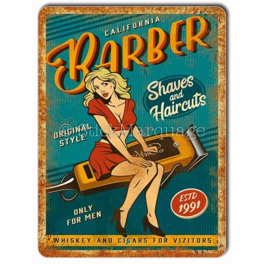 Plaque metal Pin-Up Barber Shop