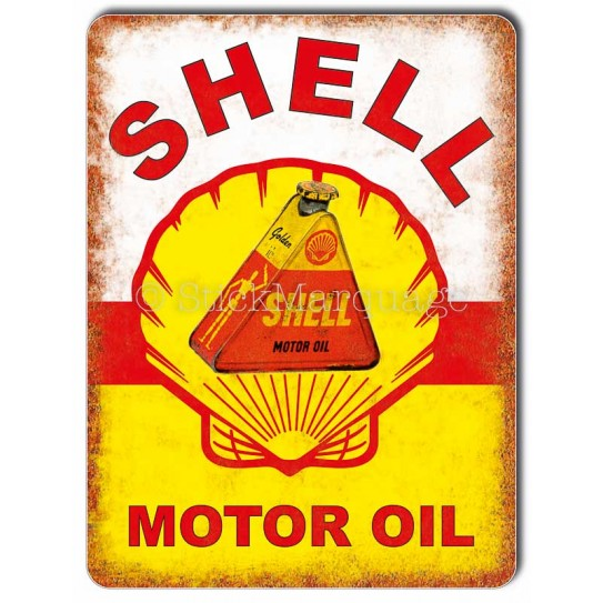 Plaque métal Shell ancien bidon Motor Oil