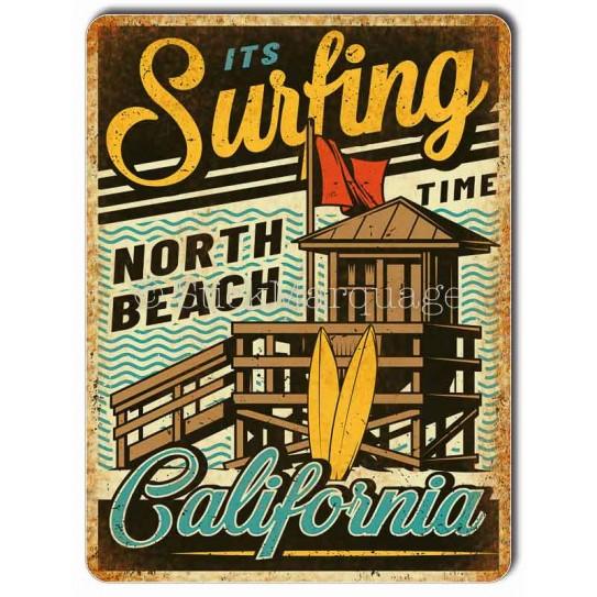 Plaque métal Surf Beach Californie