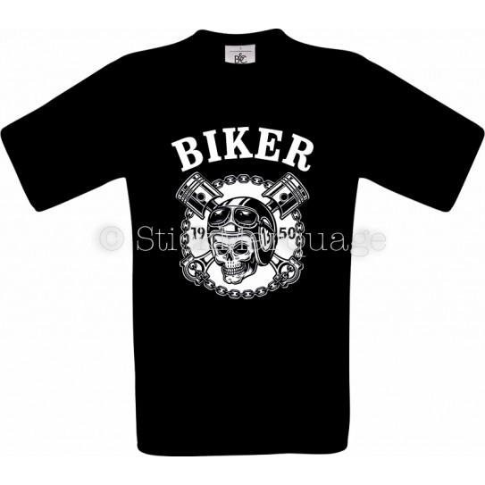 T-shirt Biker Moto Skull noir homme