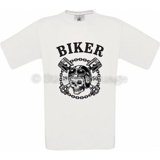 T-shirt anniversaire Biker Moto Skull blanc homme