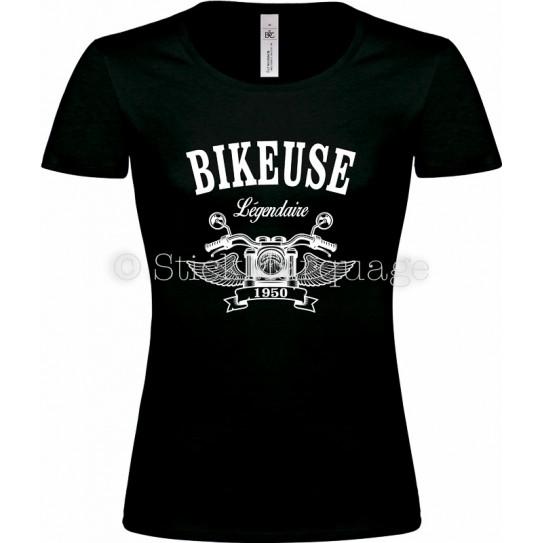 Tee-shirt Bikeuse Moto Légendaire noir femme