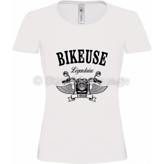 Tee-shirt Bikeuse Moto Légendaire blanc femme