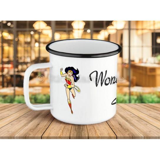 Tasse à café Wonder Woman en métal émaillé