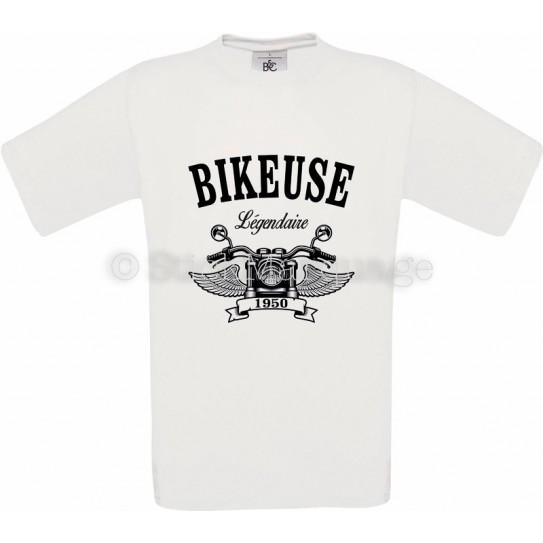 T-shirt Bikeuse Moto Légendaire blanc