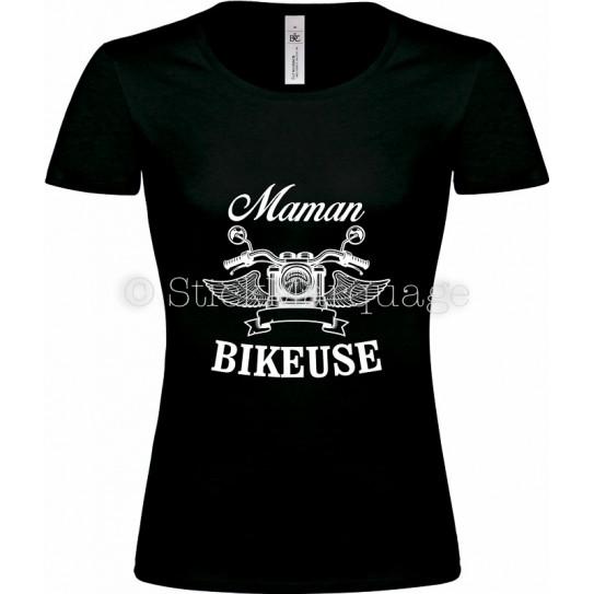 T-shirt noir Maman Bikeuse Moto