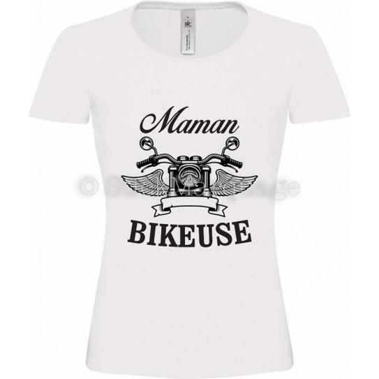 T-shirt blanc Maman Bikeuse Moto
