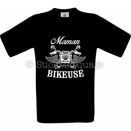 T-shirt noir Maman Bikeuse
