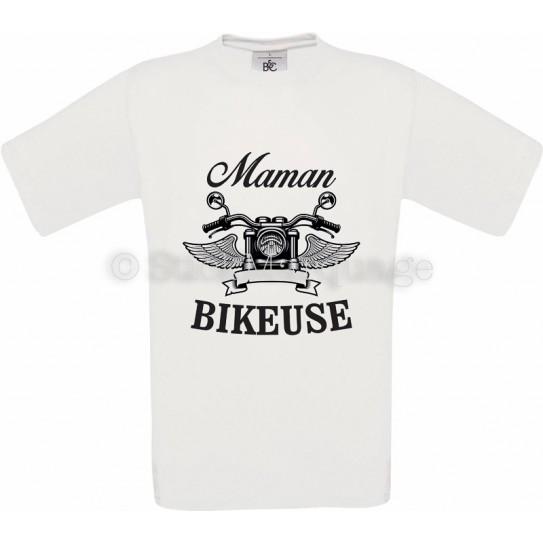T-shirt blanc Maman Bikeuse