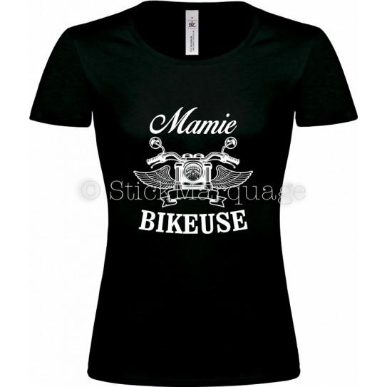 T-shirt noir Mamie Bikeuse Moto