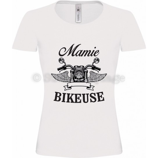 T-shirt blanc Mamie Bikeuse Moto