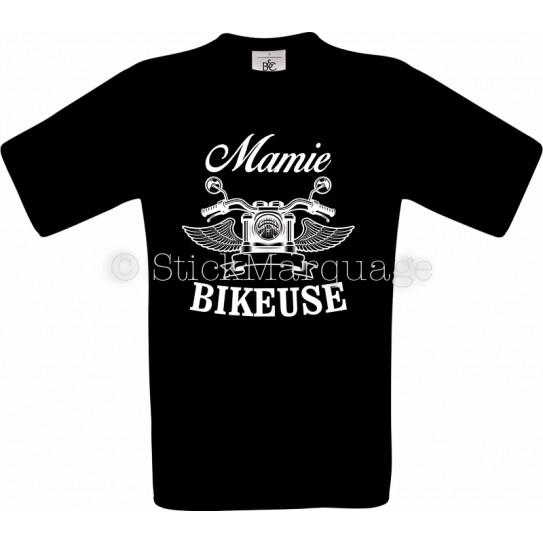 T-shirt noir Mamie Bikeuse